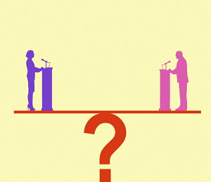 Politicians opposite each other on question mark seesaw