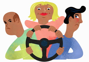 Woman taking charge of steering wheel from men