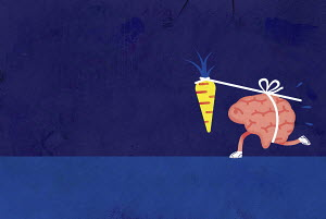 Brain chasing dangling carrot on a stick