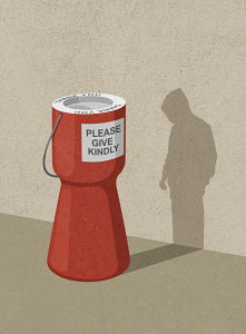 Charity donation box shadow forming hooded figure
