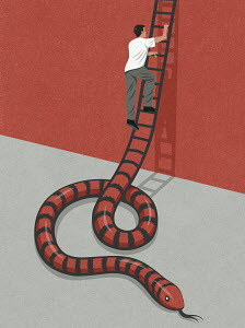 Man climbing ladder and avoiding snake