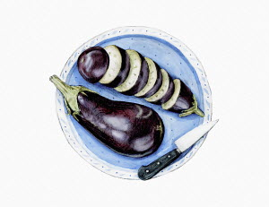 Watercolour painting of sliced aubergine