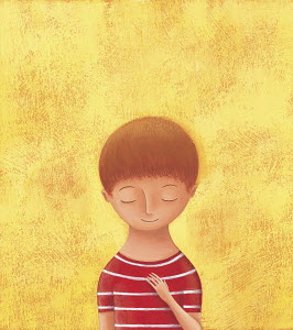 Portrait of little boy with eyes closed