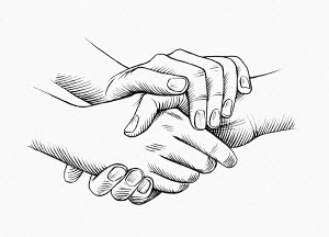 Close up of double handed handshake