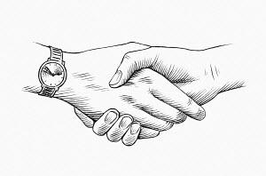 Close up of long handshake