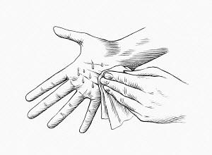 Hand wiping sweaty palm