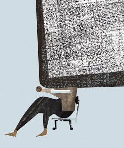 Businesswoman burdened by too much data
