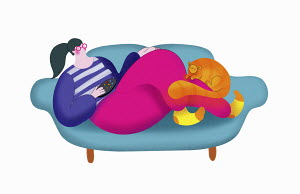 Woman relaxing on sofa with pet cat