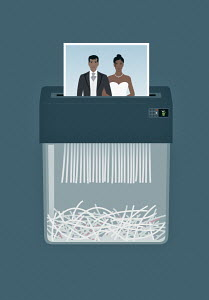 Wedding photograph in paper shredder