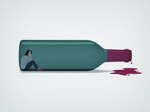 Woman trapped inside of wine bottle