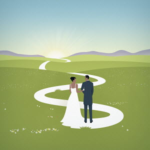 Bride's train forming path for married couple
