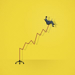 Successful businessman sitting high up on rising line graph office chair