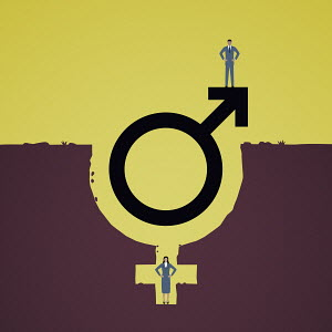 Man standing on top of male gender symbol with woman in female symbol hole