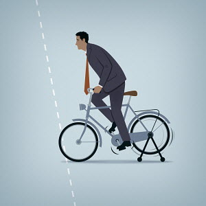 Ineffective businessman struggling to cycle with bike stationary on stand