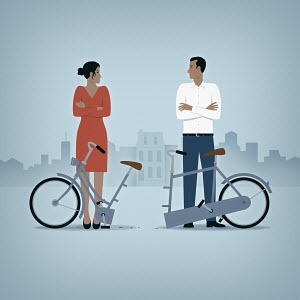 Couple in relationship breakup with half of tandem bicycle
