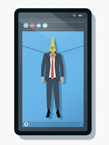 Man hung out to dry with dunce's hat on mobile phone screen