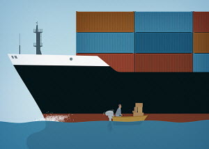 Contrast between businessman with boxes in small boat alongside cargo container ship