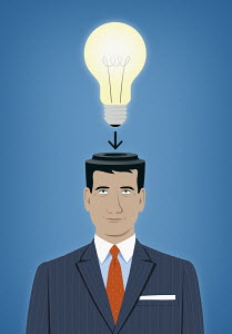 Businessman with light bulb fitting to top of head