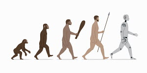 Stages in evolution from ape to robot