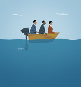 Three business people moving slowly in boat with too small a motor