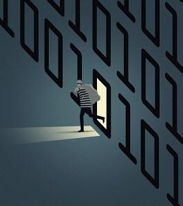 Burglar stealing data and leaving from doorway in computer code