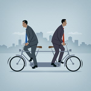 Two businessmen going in opposite directions on tandem bicycle