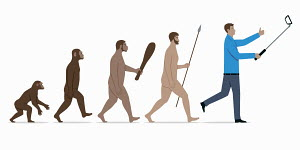 Stages in evolution from ape to modern man taking selfie