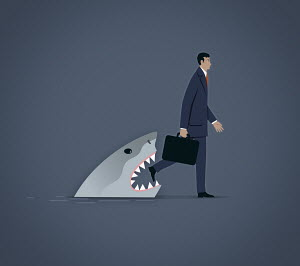 Shark emerging from water to bite oblivious businessman