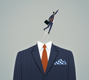 Businessman superhero flying out of suit