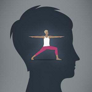Woman exercising brain