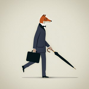 Elegant businessman with fox head