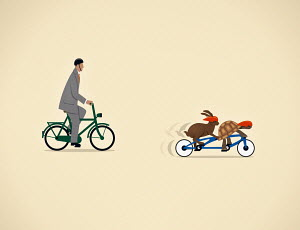 Businessman on bicycle behind tortoise and hare together on tandem bicycle