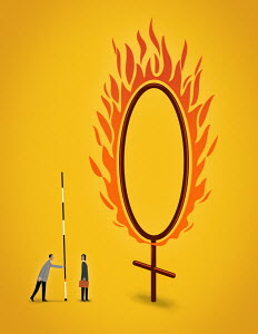 Businessman giving businesswoman pole vault next to female gender symbol ring of fire