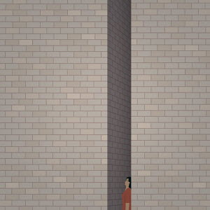 Woman trapped between two tall brick walls