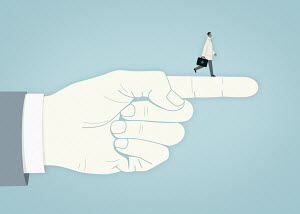 Doctor walking on top of pointing finger