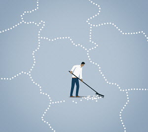 Man raking up line of dots and changing border between countries
