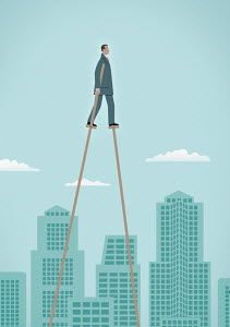 Businessman on stilts walking above city