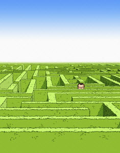 Man lost in maze