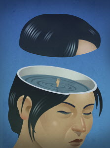 Woman drowning inside of head
