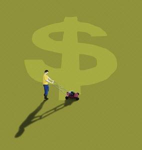 Man mowing dollar sign in lawn