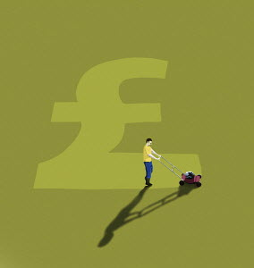 Man mowing British pound sign in lawn