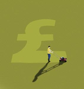 Man mowing British pound sign in lawn