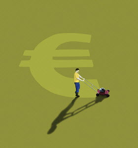 Man mowing euro sign in lawn