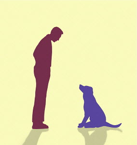 Man and dog looking at each other