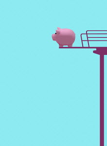 Piggy bank on high diving board