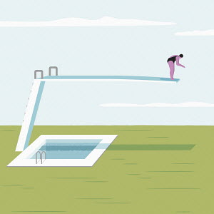 Woman on long diving board above solid ground