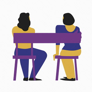 Chair forming arm around two women sitting side by side