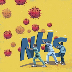 Healthcare workers with NHS shields against coronavirus