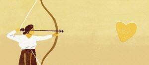 Woman aiming arrow at heart shape