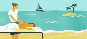 Man having massage by the beach